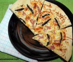 receta pizza de champinones y jamon york