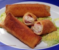 flamenquines de pan de molde con jamon y queso
