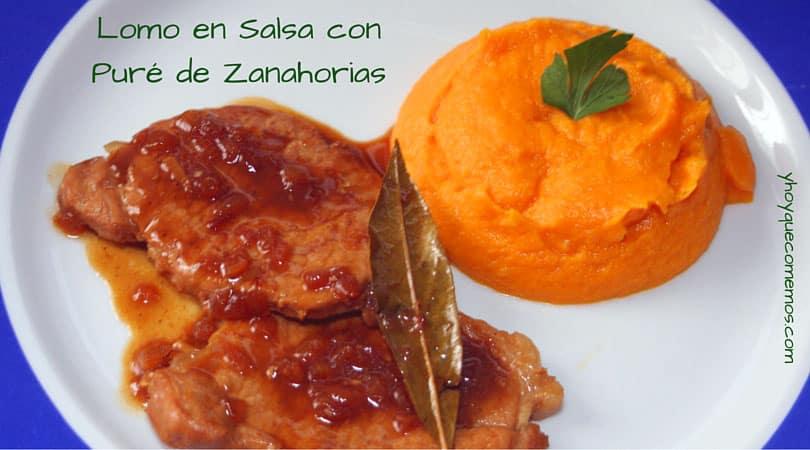lomo en salsa con pure de zanahorias