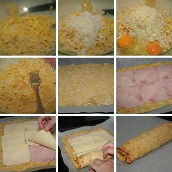 receta rollo salado de jamon y queso