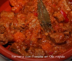 ternera con tomate en olla rapida