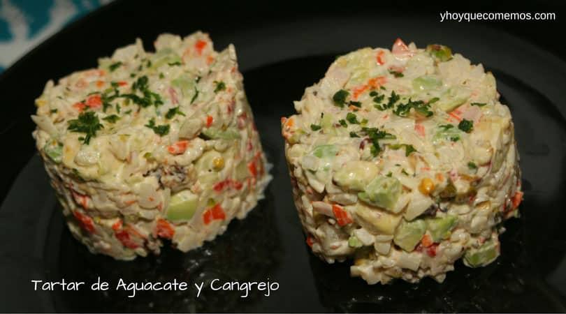tartar de aguacate y cangrejo
