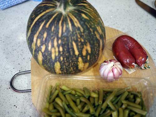 ingredientes para el guiso de garbanzos con calabaza