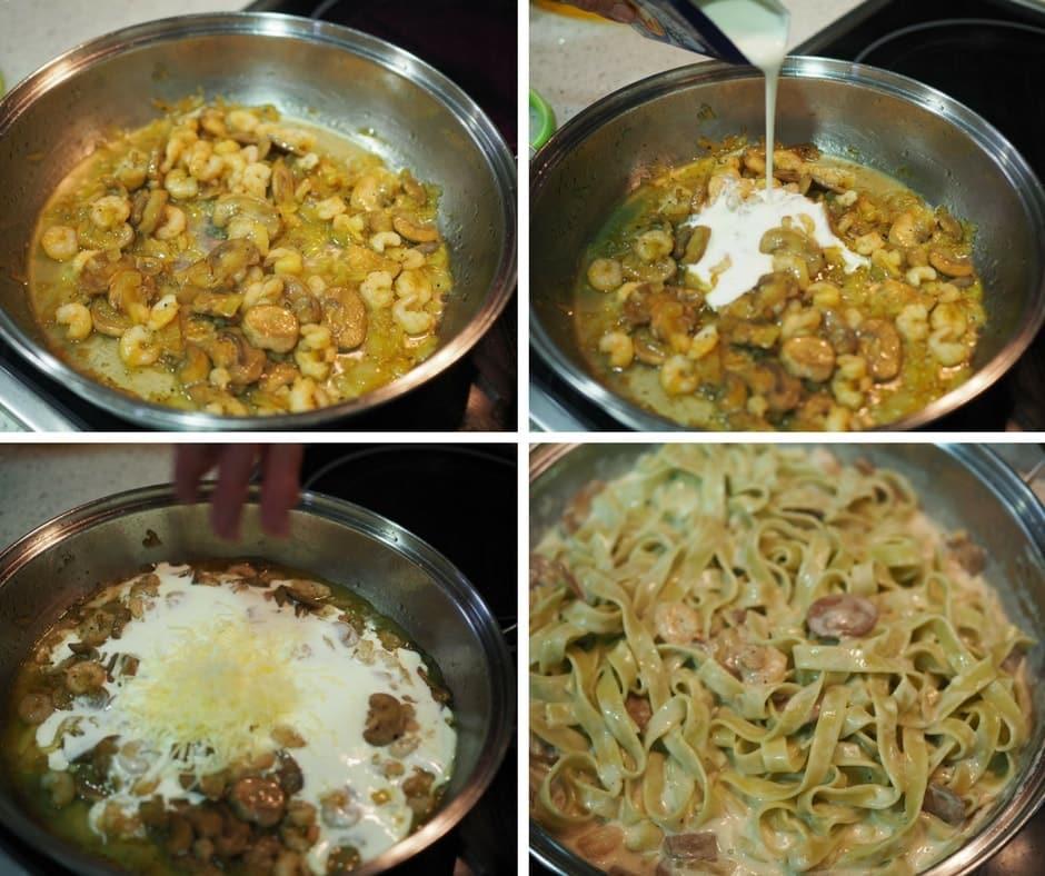 receta de niños de espinacas con champiñones y gambas