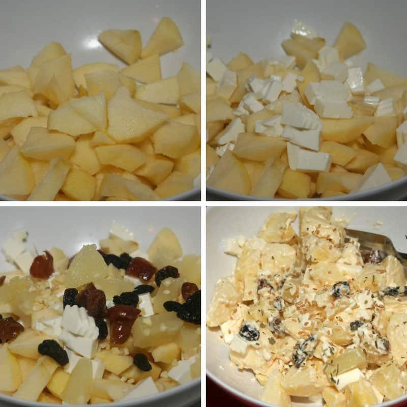 receta ensalada de manzana, pina y queso fresco