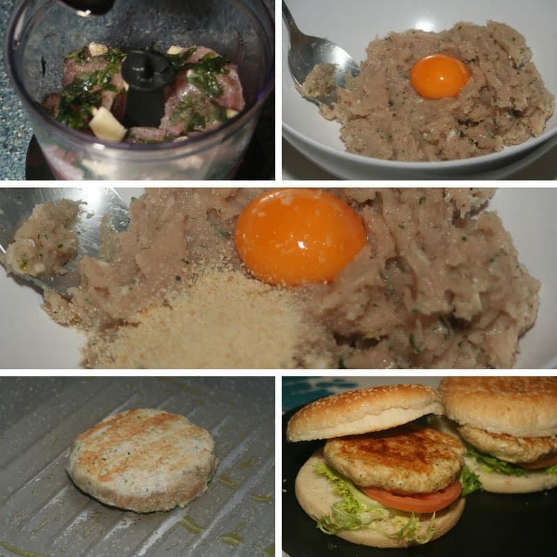 receta hamburguesas de pollo