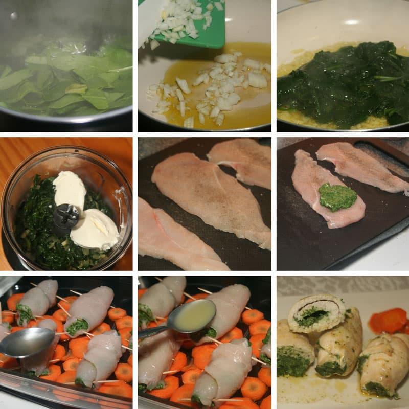 receta pollo con espinacas