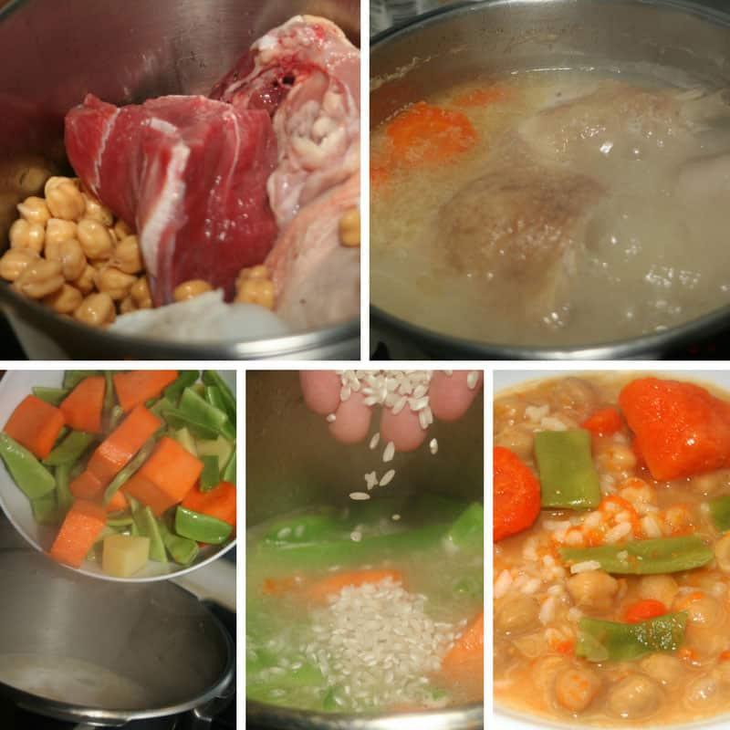 receta sopa de arroz, garbanzos y verduras