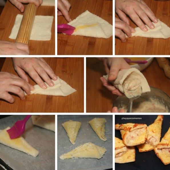 cornetes de pan de molde rellenos receta