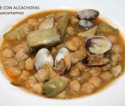 potaje de garbanzos con alcachofas y almejas