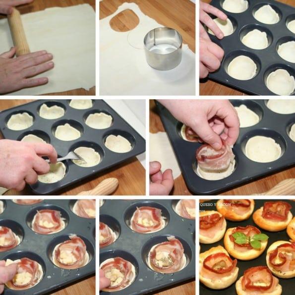 receta canapes de bacon y queso