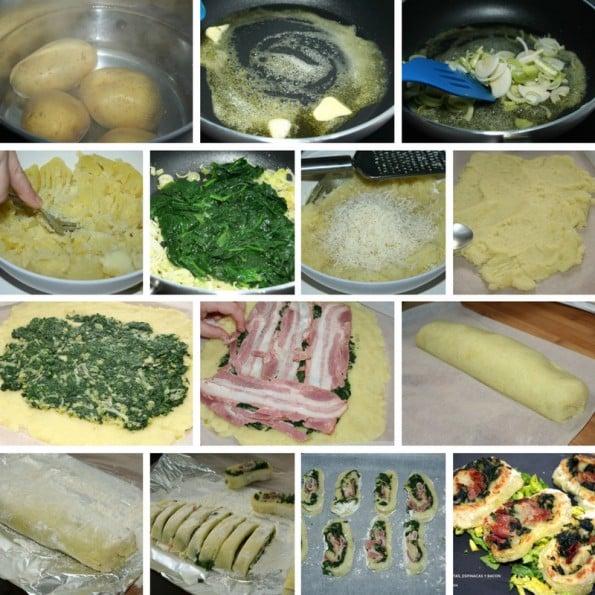 receta de rollo de patatas, espinacas y bacon