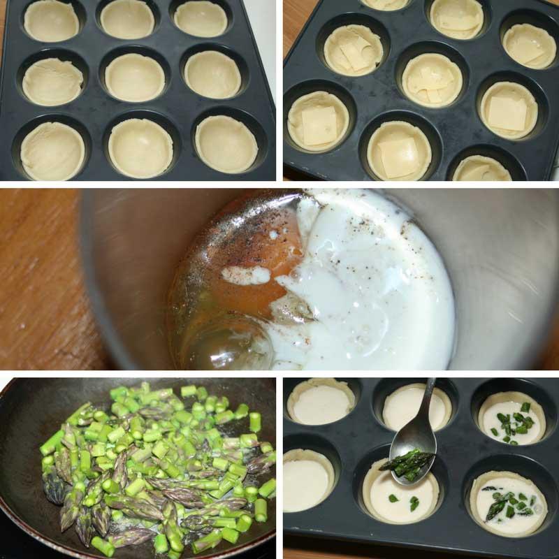 receta mini quiches de esparragos trigueros