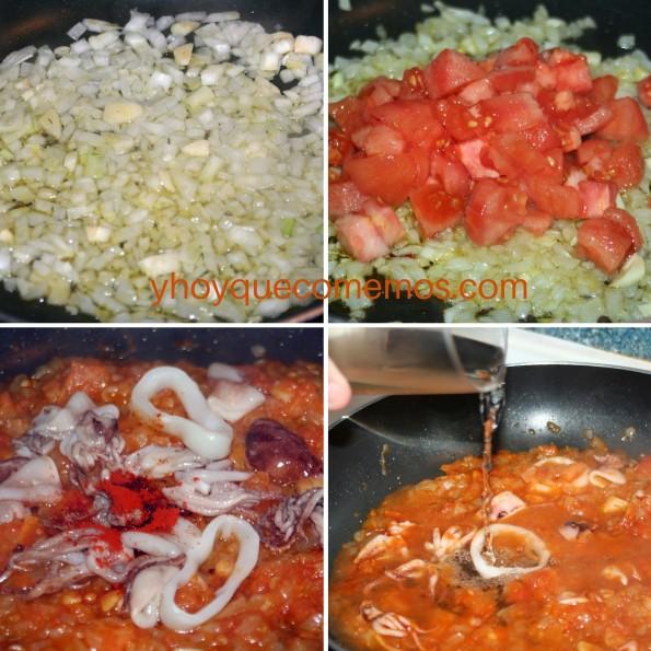 agregar los chipirones y el tomate