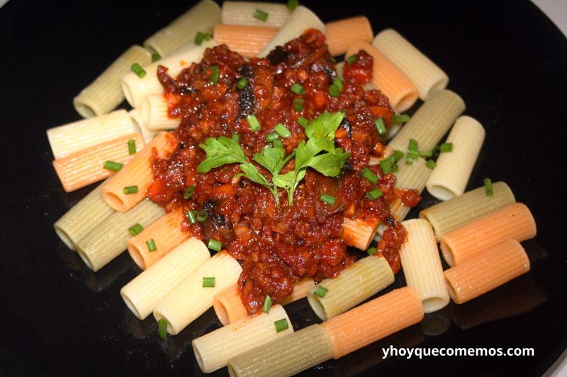 pasta con ternera y verduras