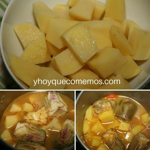 echar-patatas-alcachofas-y-azafran