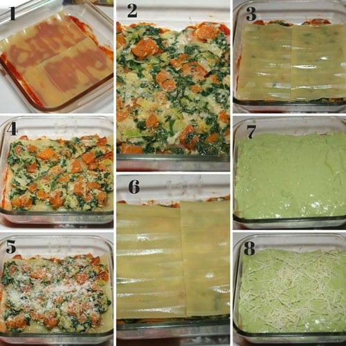 receta de Lasaña de espinacas y calabaza con bechamel verde
