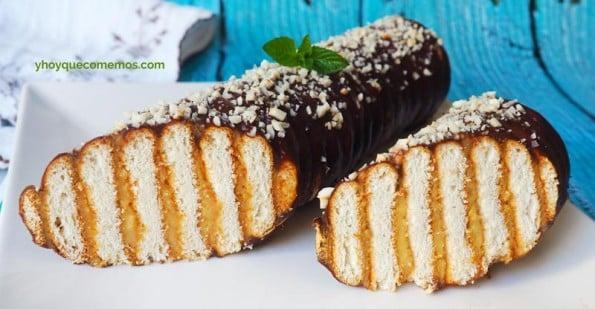 receta de tronco de galletas hojaldradas
