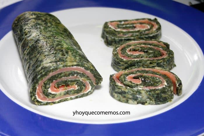 rollo de espinacas con salmon