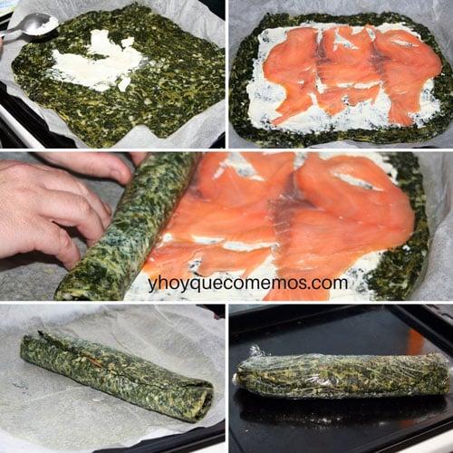 receta rollo de espinacas y salmon