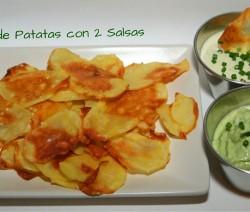 chips de patatas con 2 salsas