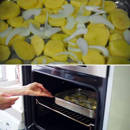 hornear-un-poco-las-patatas-antes-de-poner-la-Trucha-al-Horno