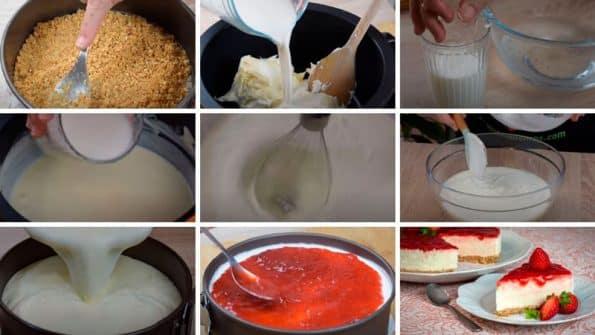 receta paso a paso tarta de queso sin horno con mermelada de fresas riquisima