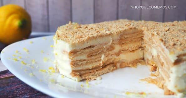 tarta de limon y galletas