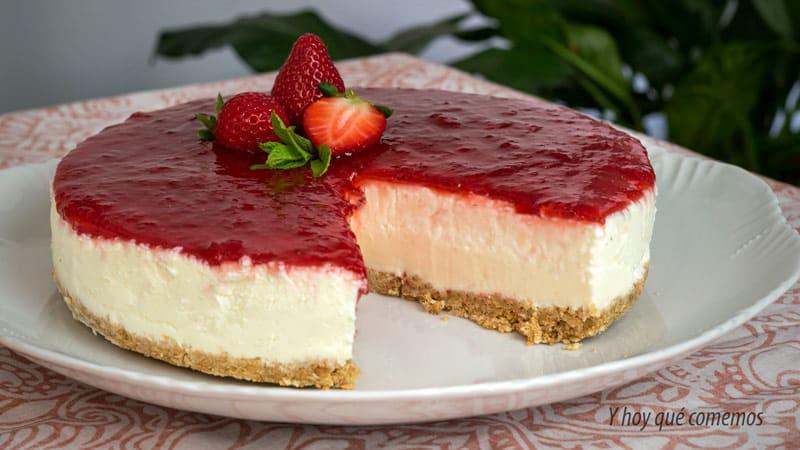 receta de tarta de queso sin horno con mermelada de fresas