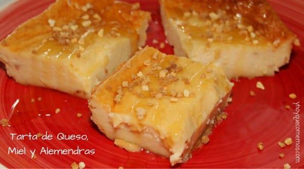 Tarta de Queso, Miel y Almendras