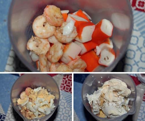 mezclar-los-ingredientes-para-el-pate-de gambas y palitos de mar