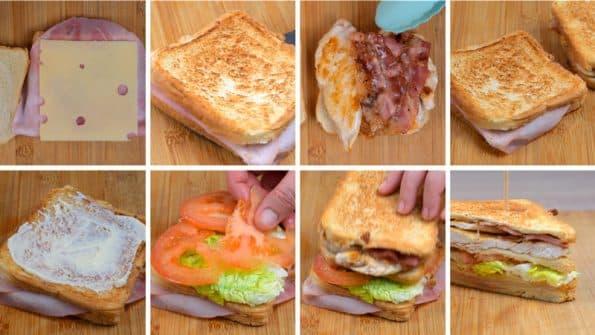 paso a paso sándwich club para cenas
