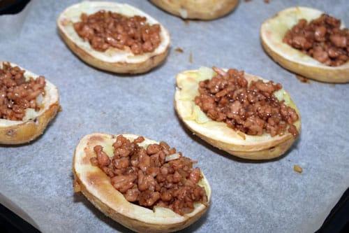 rellenar las Patatas Rellenas de Carne