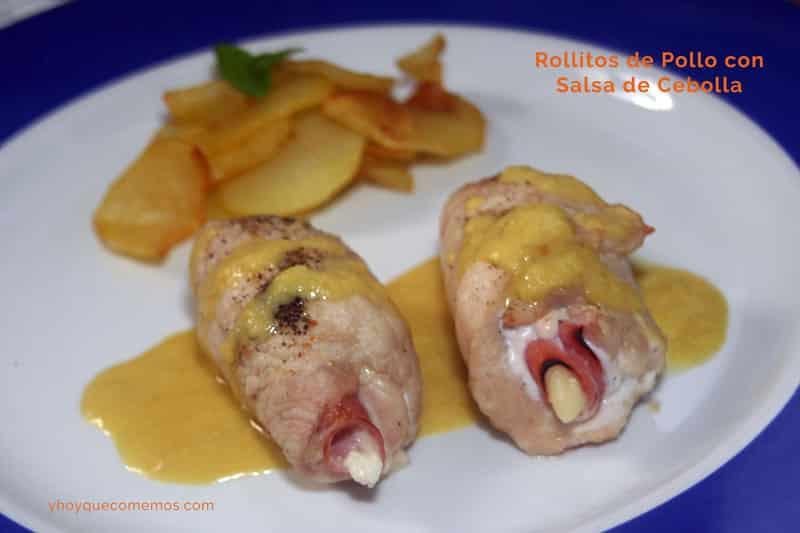 rollitos de pollo con salsa de cebolla