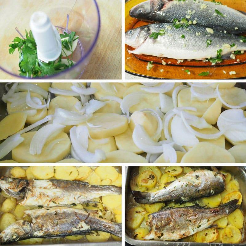 receta lubina al horno con patatas