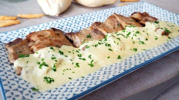 receta lomo de cerdo con salsa de puerros