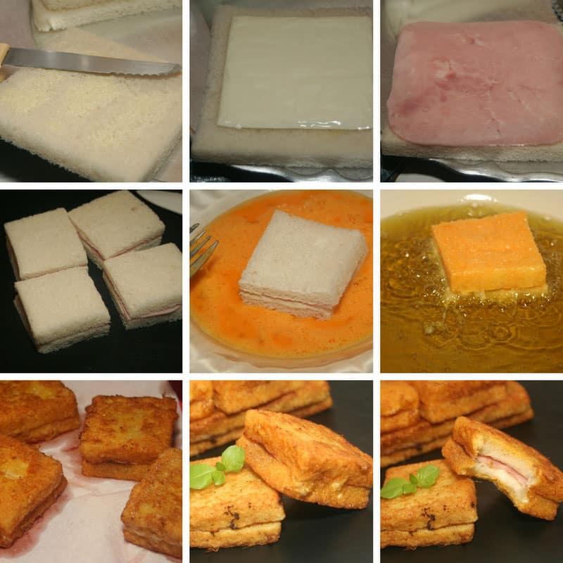 receta emparedados de jamon y queso