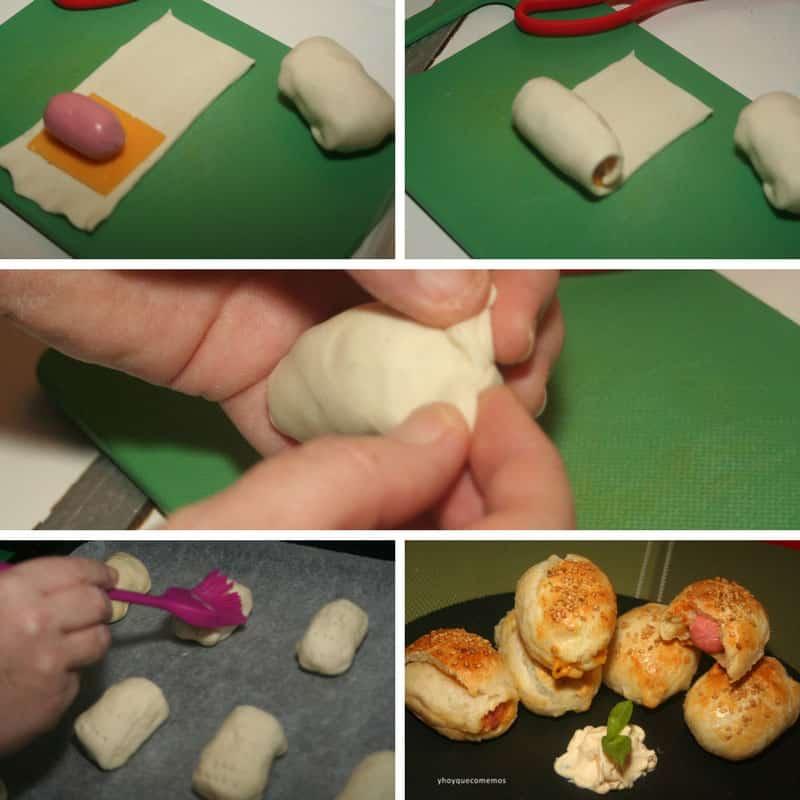 receta hojaldre de salchichas y queso