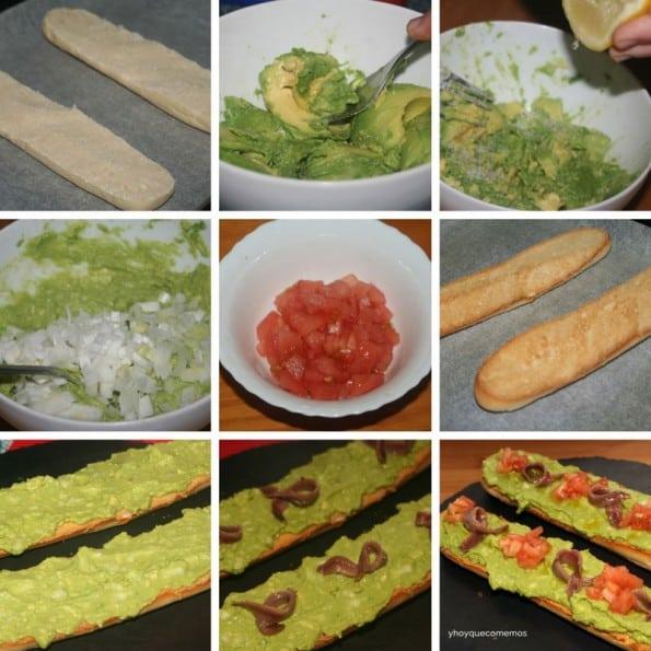 receta baguettes de guacamole y anchoas