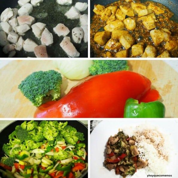 receta pollo con brocoli y guarnicion de arroz