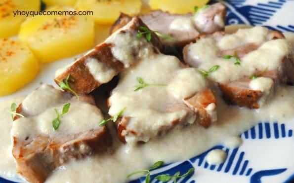 solomillo en salsa de almendras receta