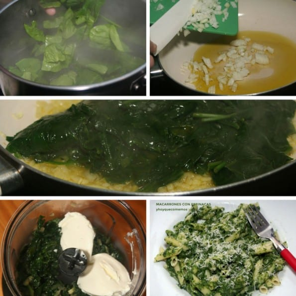 receta macarrones con espinacas