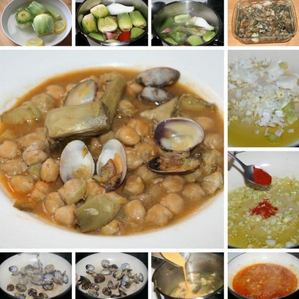 receta potaje de garbanzos con alcachofas y almejas