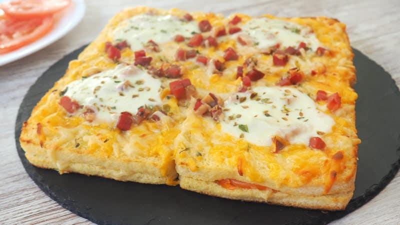 receta pastel de pizza con pan de molde sin corteza