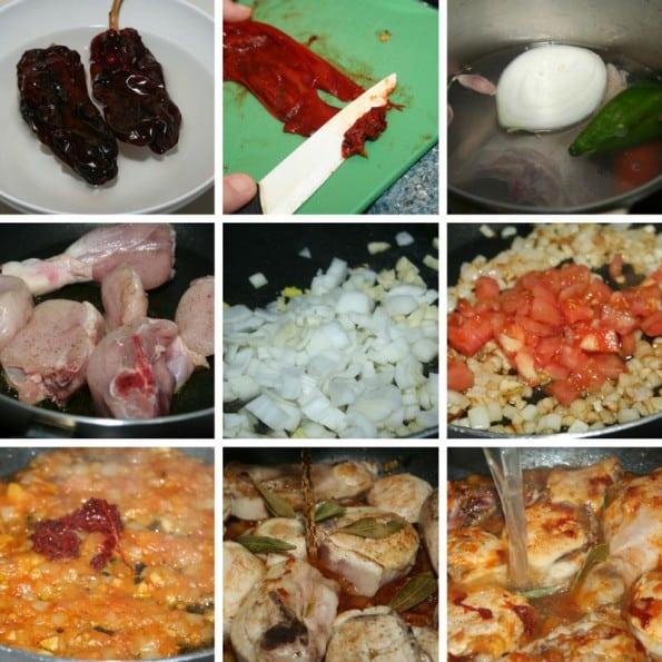 como se hace el pollo en salsa de pimientos choriceros