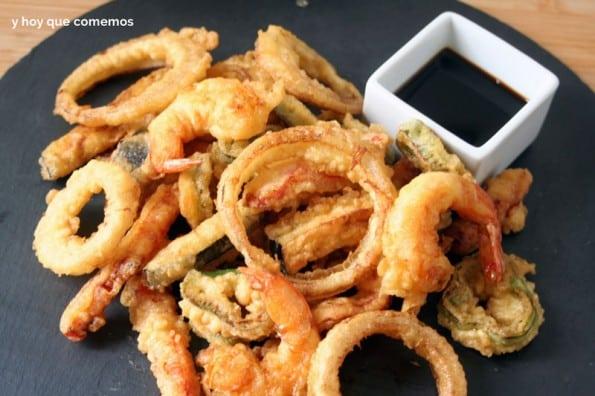 tempura de verduras y langostinos