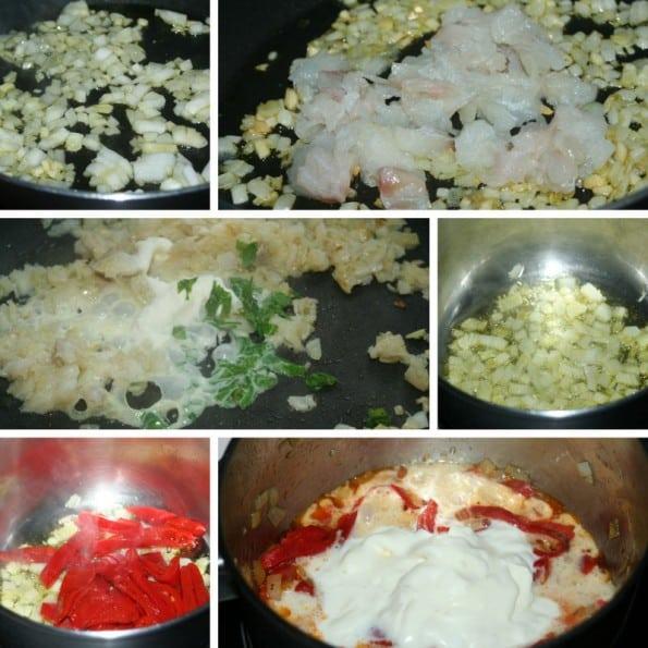 crepe de bacalao con salsa de piquillo receta