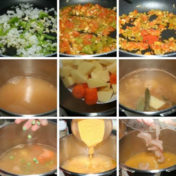 receta guiso de patatas y gambas