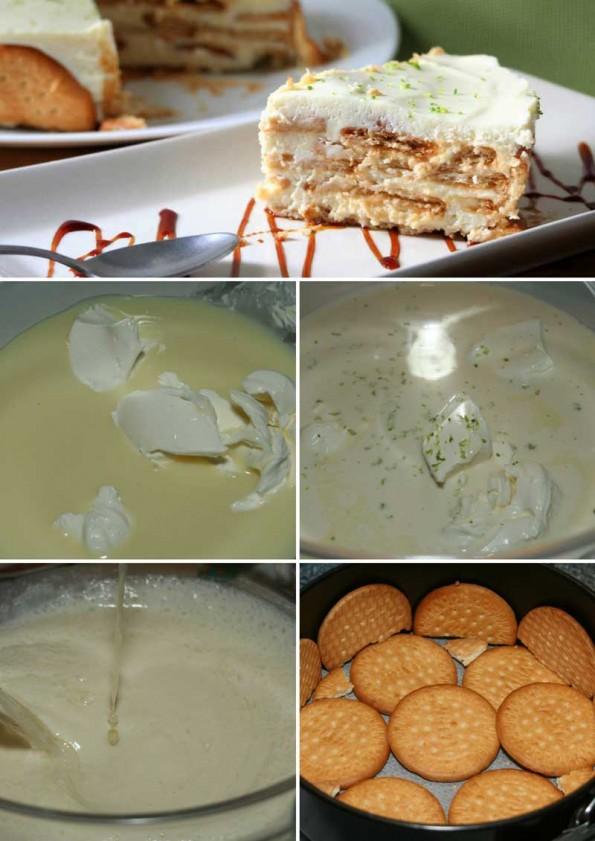receta tarta de galletas y lima