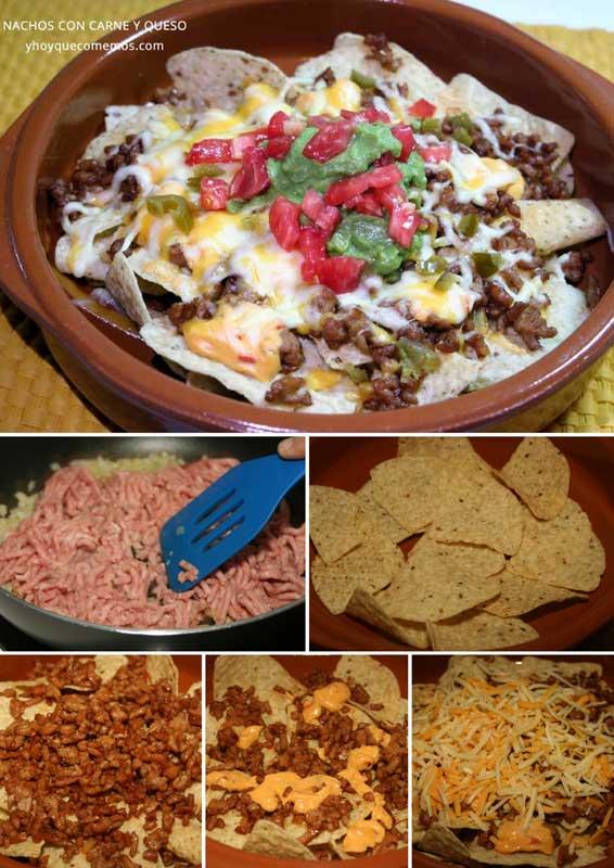 nachos con carne y queso receta casera